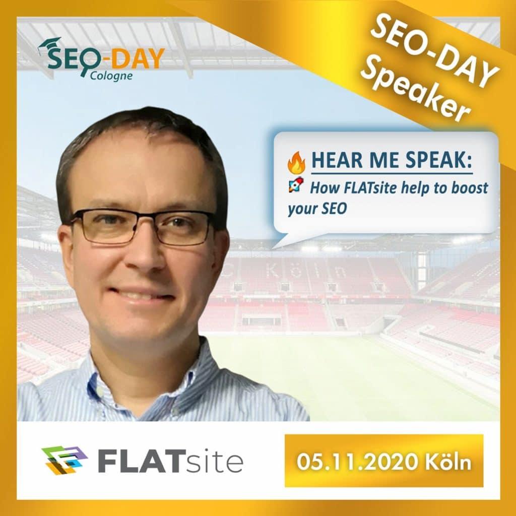 FLATsite Speaker presentation of SEO Day in Cologne