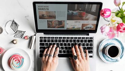 Creating website on laptop