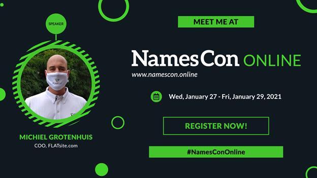 Namescon invitation to FLATsite's presentation